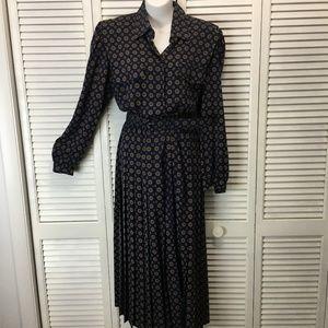 Appleseed's blue pleated vintage dress sz 10